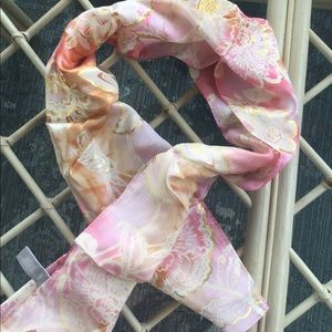 Echo silk scarf vintage floral Asian pink gold